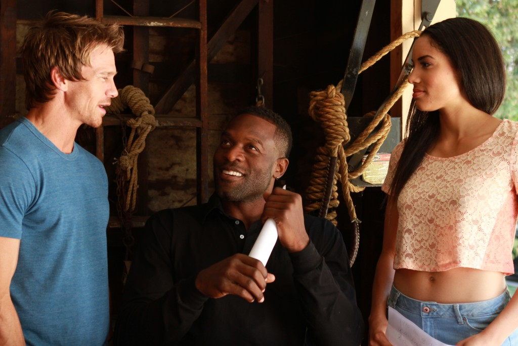 "On the set of ""Unsullied"" with director-screenwriter Simeon Rice and lead actress Murray Gray."