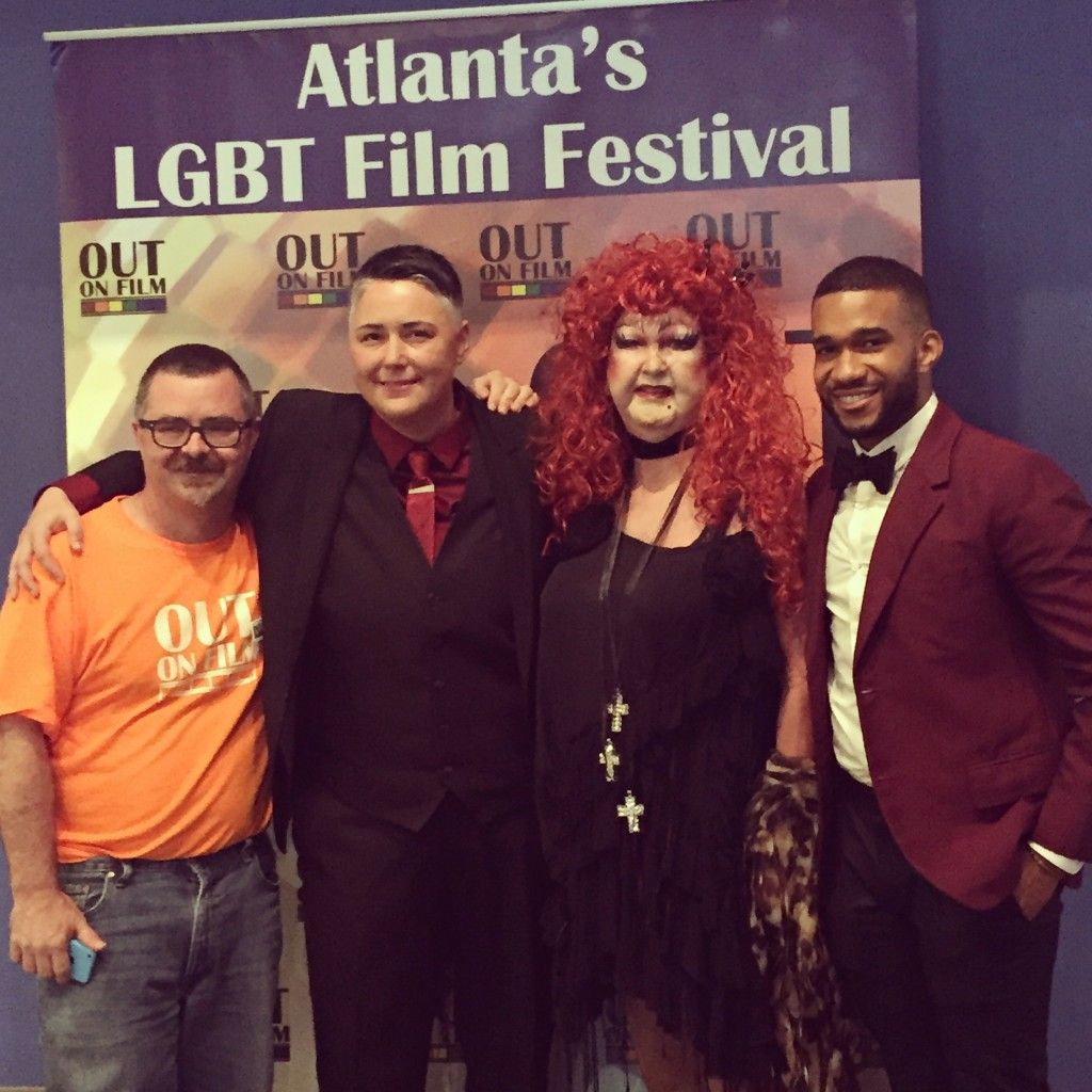 "Out on Film festival director Jim Farmer with ""Queer Moxie"" directors Heather Provoncha and Leo Hollen Jr. and one of the doc's stars, Lily White."