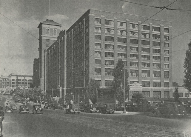 In this photo from the 1930s, the historic building served as a Sears & Robuck catalog headquarters
