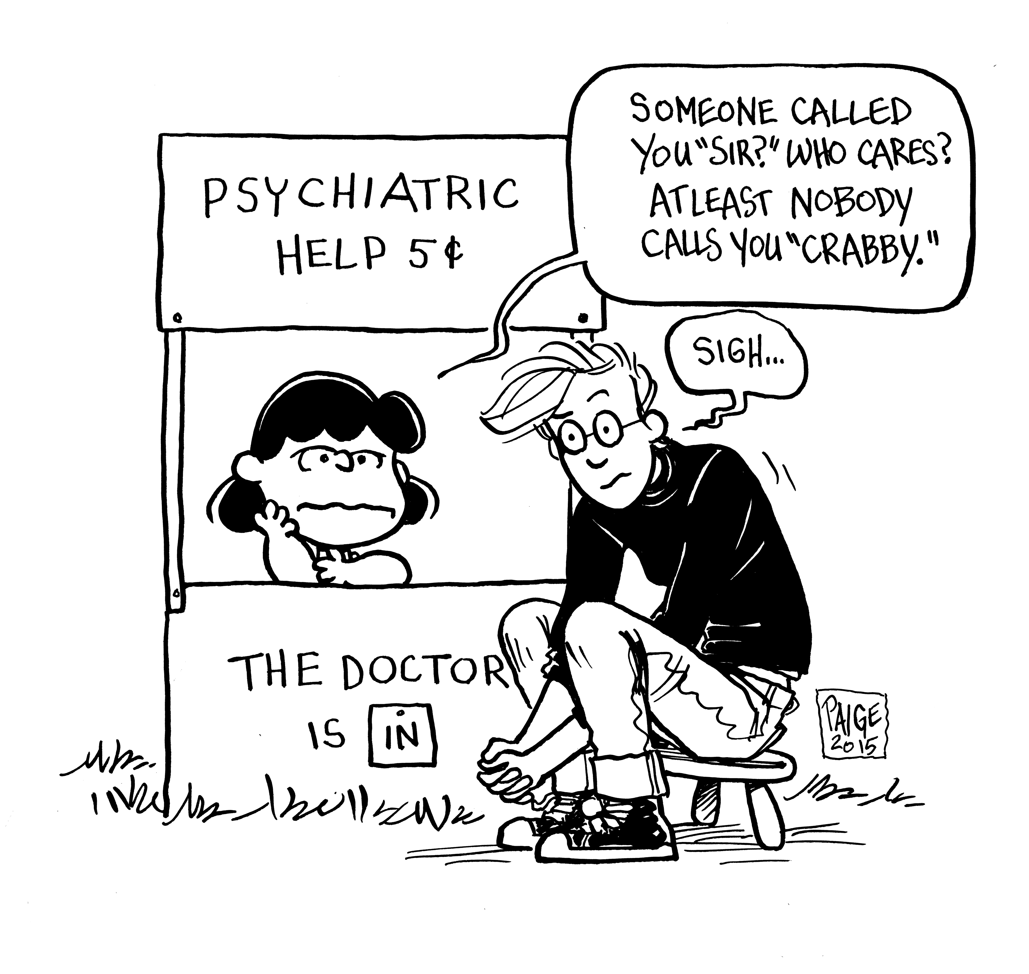 A cartoonist self-portrait with acclaimed therapist Lucy Van Pelt for a new Boom Comics tribute book.
