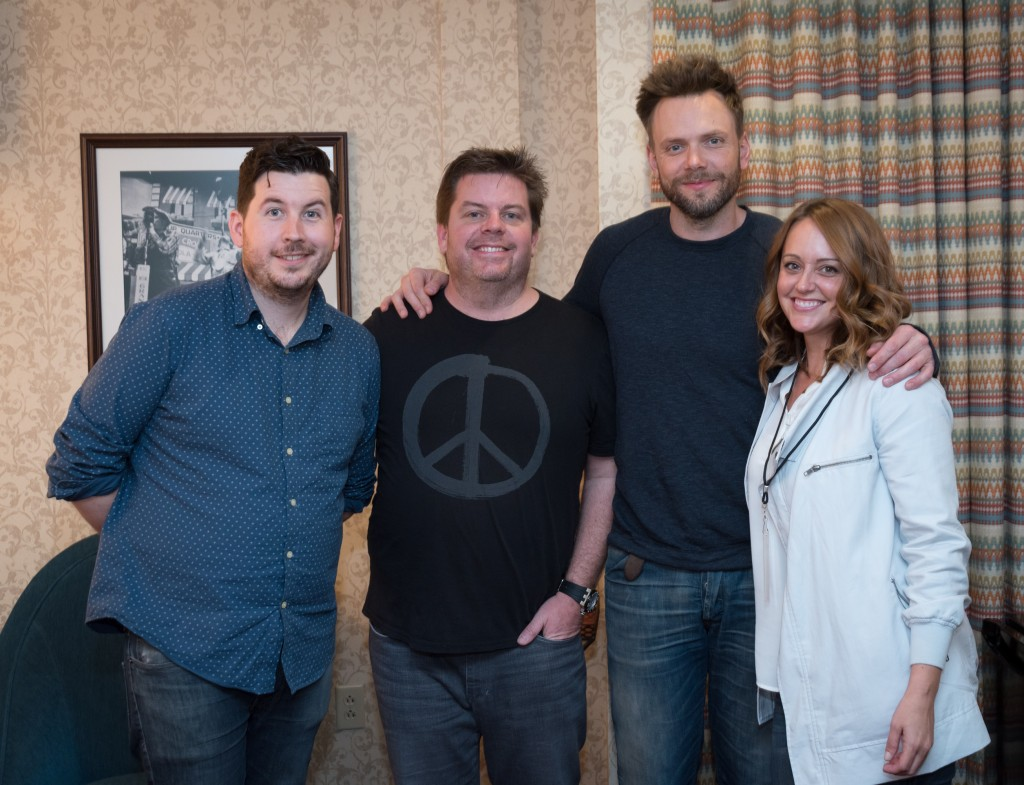 Dauler, a budding stand up comic poses with J.F. Harris, Joel McHale and Sarah Tiana last year as part of Vince Vaughn's Wild West Comedy Festival at the Ryman Auditorium in Nashville.