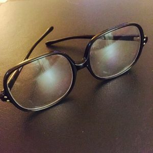 """Julia Sugarbaker's eyeglasses originally worn by Dixie Carter were sent to Payne by Bloodworth Thomason for use in Process Theatre's annual """"Designing Women Live"""" shows."""