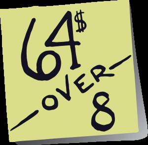64over8 logo (black on yellow)