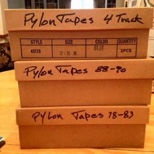 The three boxes of Pylon live recordings archived by late guitarist Randy Bewley.