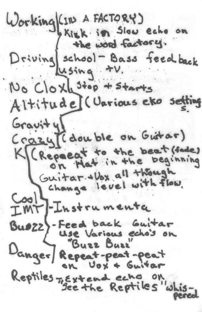 The set list from Pylon's farewell performance December 1, 1983 scrawled on the back of a gig flyer and stashed inside the box of the show's master tapes.