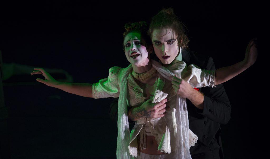 "Aaron Strand as Macheath and Stephanie Lloyd as Polly Peachum in ""Threepenny Opera."" Photo by Stungun Photography"