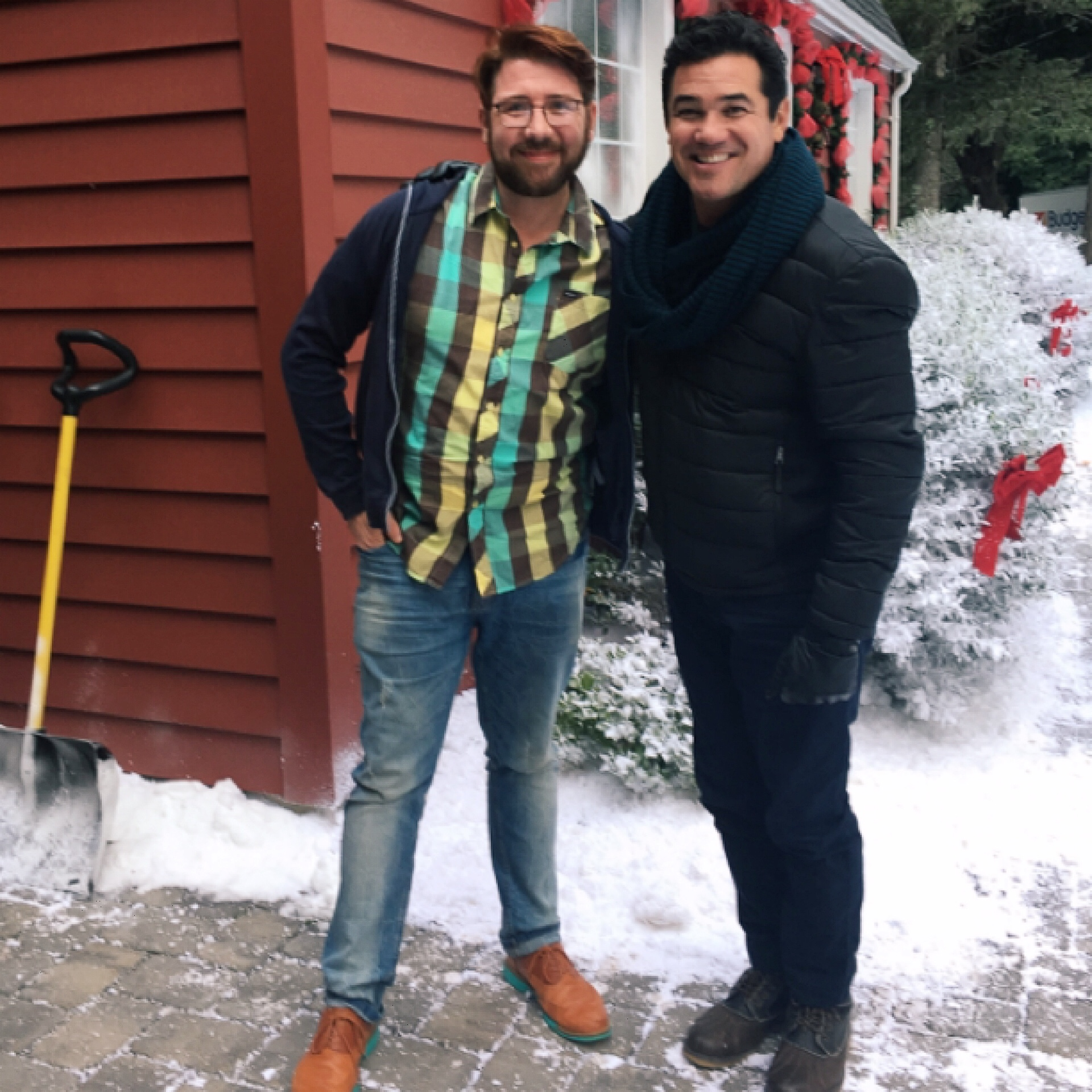 """""""Broadcasting Christmas"""" screenwriter Topher Payne and star Dean Cain. Courtesy: Topher Payne"""