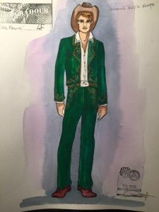 Liang's original costume sketches for the production.