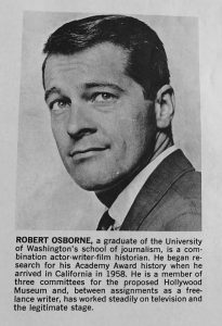 "Osborne's author photo for the 1965 edition of ""Academy Awards Illustrated."""